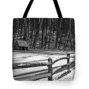Winter Hut In Black And White Tote Bag