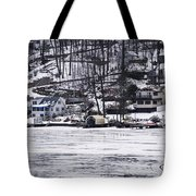 Winter Ice Lake Scene Hopatcong Covered Port Tote Bag