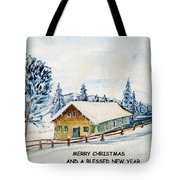 Winter Idyll With Text Tote Bag