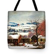 Winter In The Country Folk Art Tote Bag