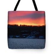 Winter Lake Sunset Tote Bag