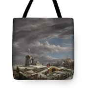 Winter Landscape With Figures On A Path Tote Bag
