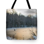 Winter Landscape With Frozen Lake And Warm Evening Twilight Tote Bag