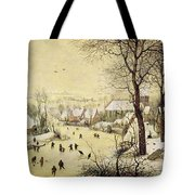 Winter Landscape With Skaters And A Bird Trap Tote Bag