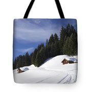 Winter Landscape With Trees And Houses In Austria Tote Bag