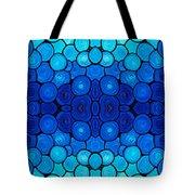 Winter Lights - Blue Mosaic Art By Sharon Cummings Tote Bag