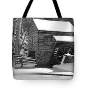 Winter Mill In Black And White Tote Bag