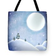 Winter Moon Over Snowy Landscape Tote Bag