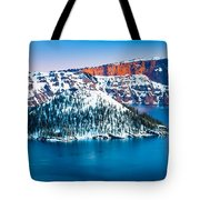 Winter Morning At Crater Lake Tote Bag