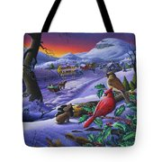 Winter Mountain Landscape - Cardinals On Holly Bush - Small Town - Sleigh Ride - Square Format Tote Bag