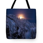 Winter Mountain Moonrise Tote Bag