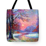 Winter Nightfall, Snow Scene  Tote Bag