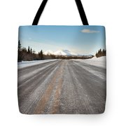 Winter On Country Road In Taiga And Snowy Mountain Tote Bag