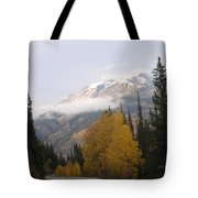 Winter Over Red Mountain Tote Bag