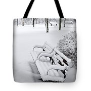 Winter Park With Benches Tote Bag
