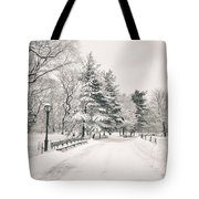 Winter Path - Snow Covered Trees In Central Park Tote Bag