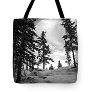 Winter Pines Silhouetted Against The Sky Tote Bag by Cascade Colors