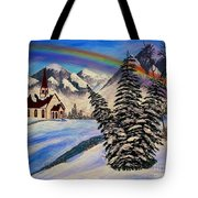 Winter Rainbow Tote Bag