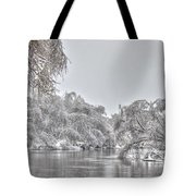 Winter River Scene Tote Bag
