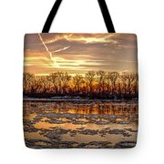 Winter River Sunrise Tote Bag
