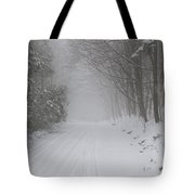 Winter Road During Snow Storm Tote Bag