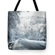 Winter Road In Forest Tote Bag