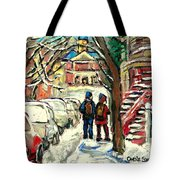 Winter Scene Painting Rows Of Snow Covered Cars First School Day After Christmas Break Montreal Art Tote Bag