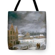 Winter Scene With A Man Killing A Pig Tote Bag