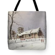 Winter Scene With Figures On A Path Near A Church Tote Bag