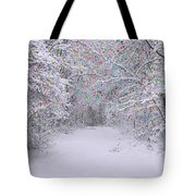Winter Scene With Lights Tote Bag