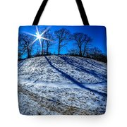 Winter Scinery In The Mountains With Bllue Sky And Sunshine Tote Bag