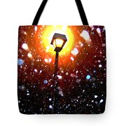 Winter Snow Storm At Night Tote Bag