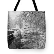 Winter Snow Storm In Somesville Maine Tote Bag