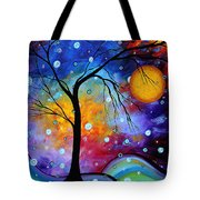 Winter Sparkle Original Madart Painting Tote Bag by Megan Duncanson