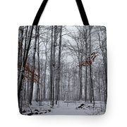 Winter Storm In The Forest Tote Bag