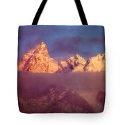 1m9333-winter Sunrise On Teton Range Tote Bag