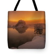 Winter Sunset And Fog Over Lake Myvatn Tote Bag
