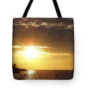 Winter Sunset Over Long Island Tote Bag