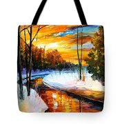 Winter Sunset - Palette Knife Oil Painting On Canvas By Leonid Afremov Tote Bag