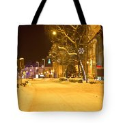 Winter Time Street Scene In Krizevci Tote Bag