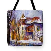 Winter Town - Palette Knife Oil Painting On Canvas By Leonid Afremov Tote Bag