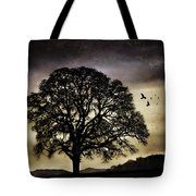 Winter Tree And Ravens Tote Bag