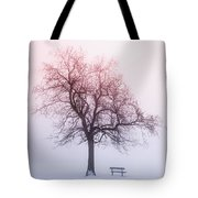 Winter Tree In Fog At Sunrise Tote Bag by Elena Elisseeva