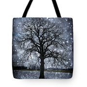 Winter Tree In Snowfall Tote Bag