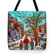 Winter Walk Montreal Paintings Snowy Day In Verdun Montreal Art Carole Spandau Tote Bag