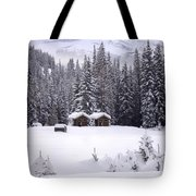 Forest Snow Blanketed Privies - Winter In Banff, Alberta Tote Bag