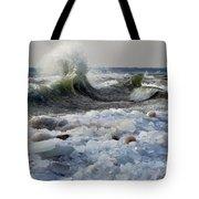 Winter Waves At Whitefish Dunes Tote Bag