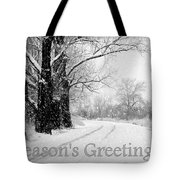 Winter White Season's Greeting Card Tote Bag by Carol Groenen