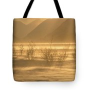 Winter Wind Storm W Blowing Snow Tote Bag