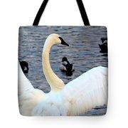 Winter's White Swan Tote Bag